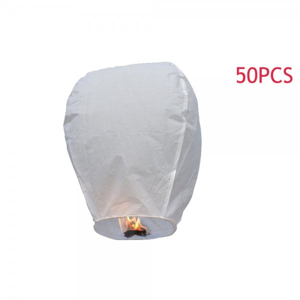 50pcs Wrapped Oval Shape Chinese Flying Sky Lanterns/Kongming Light White with Card for Festival