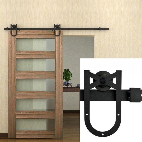 6FT Horseshoe Style Granary Door Kitchen Door Sliding Track Accessorie Kit Black