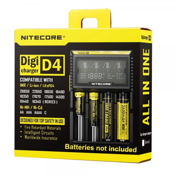 NITECORE D4 NIMH NICD Battery Charger with LCD Screen Black