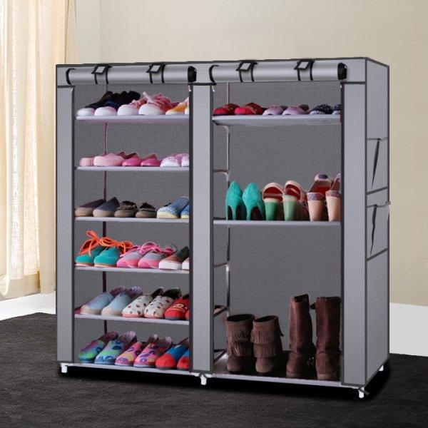 Portable Shoe Rack Shelf Storage Closet Organizer Cabinet 6 Layer 12 Grid Grey