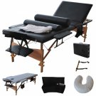 3 Folding Zero Gravity Reclining Lounge Chairs+Utility Tray Outdoor Beach Patio Black