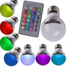 2-Pack E27 3W 16 Color Changing Dimmable LED Bulb with Remote Control (85-240V)