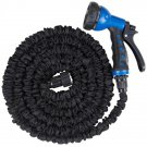 50FT / 75FT / 100FT Garden Water Hose Pipe with 8-Function Sprayer Gun & Spare Washers Black