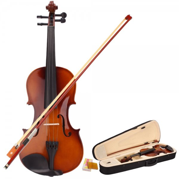 New 4/4 Natural Acoustic Violin & Case & Bow & Rosin for Violin Beginner