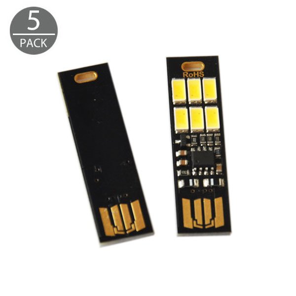 5-Pack 1W 5V Mini 6-LED Keychain USB Touch Dimmer Lights