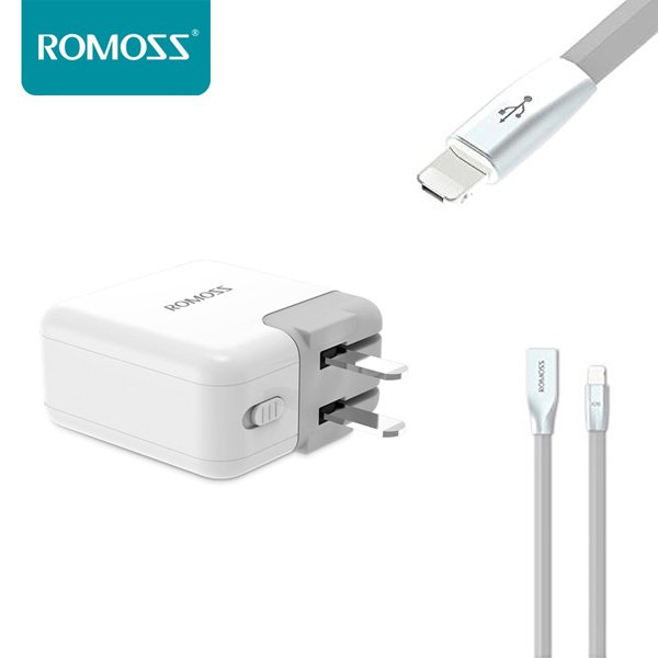 ROMOSS Universal Dual USB Port Wall Charger + Rolink Hybrid Cable For iOS & Android