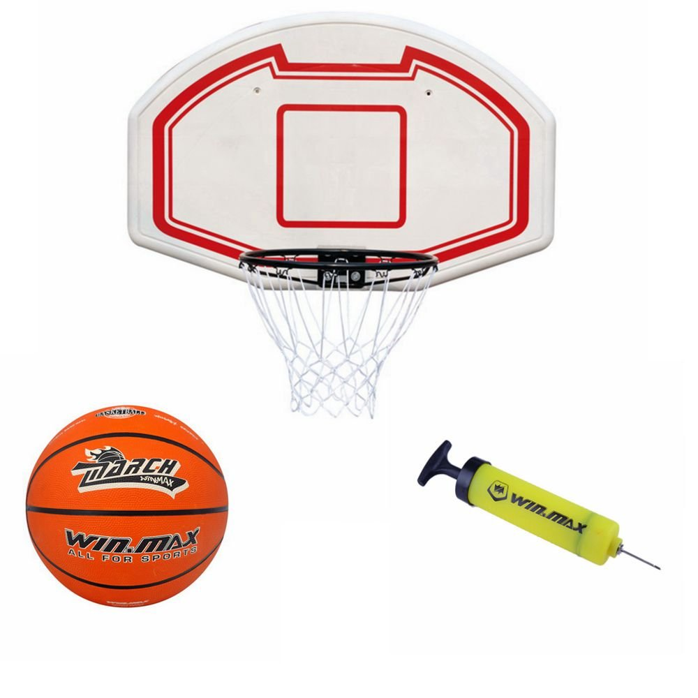 Winmax Wall Mount Basketball Backboard with Basketball & Pump