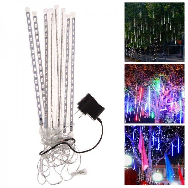 8PCS 30CM 144-LED Waterproof Meteor Shower Rain Tube Light White (US Plug)