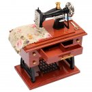 Mini Treadle Sewing Machine Mechanical Music Box Vermilion