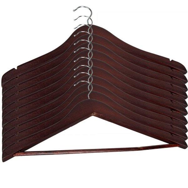 10-Pack Durable Wood Clothes Coat Hangers