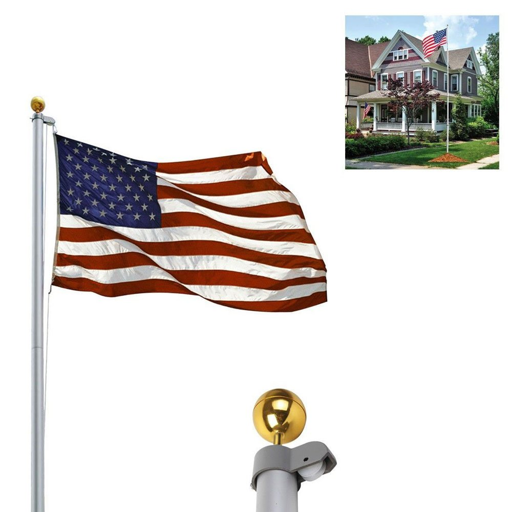 20ft Solemn Outdoor Decoration Sectional Halyard Pole + US America Flag Flagpole Kit