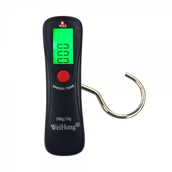 50kg/10g Blacklit LCD Display Electronic Portable Luggage Scale Black