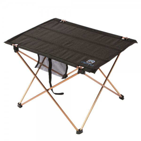 Folding Oxford Fabric Outdoor Camp Table with Storage Bag Black