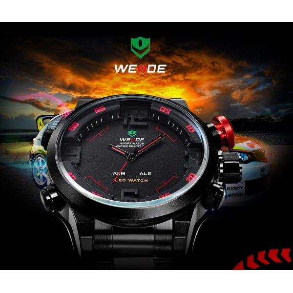 Sports Style Stainless Steel Quartz Analog LED Man Wrist Watch Black & Red
