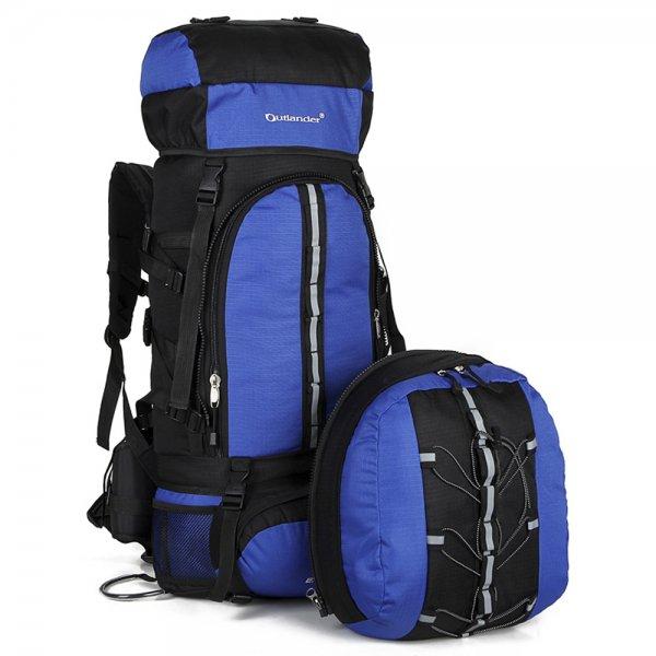 70L+10L Outdoor Backpack Rucksack Black & Blue