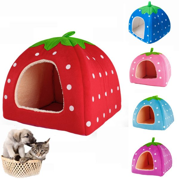 Soft Cotton Cute Strawberry Style Multi-purpose Pets Dog Cat House Nest Yurt Size L Bright Red