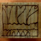 Reclaimed Wood Block with Artist's Sketch