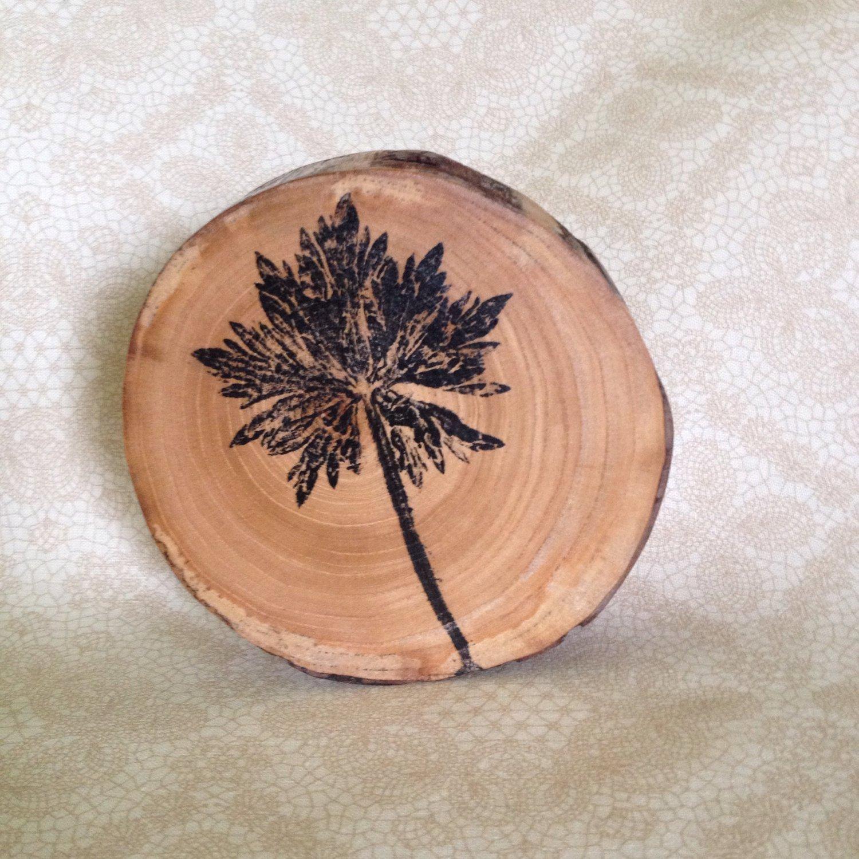 Leaf Monoprint 1 on Wood