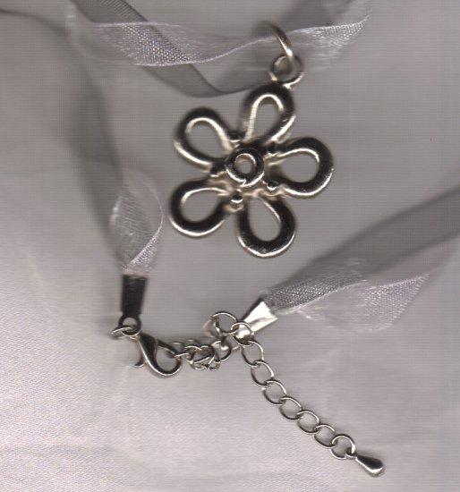 RIBBON NECKLACE, 3strand, flower pendant
