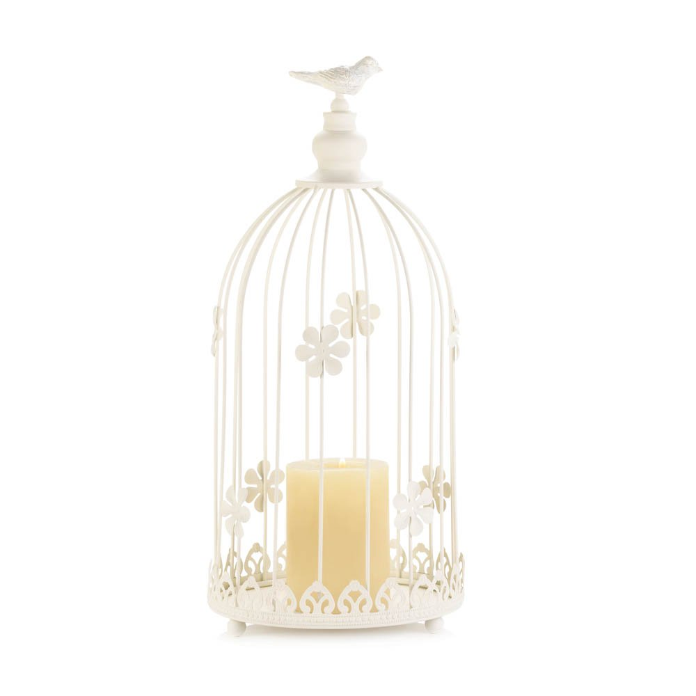 Iron Birdcage Candle Holder - Ivory