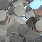 "Silver Metallic Sequins 24mm (1"") Flat Round Top Hole Loose Paillettes"