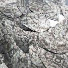 "Teardrop Sequin 1.5"" Gray Black Snakeskin Reptile Pattern Metallic"