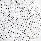 "Square Diamond Sequin 1.5"" Black Polka Dot on White Opaque"