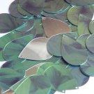"Teardrop Sequin 1.5"" Green Leaf Hosta Silver Metallic"