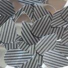 "Teardrop Sequin 1.5"" Black Gray Corrugated Stripe Metallic"