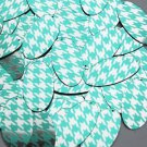 "Oval Sequin 1.5"" Teal Silver Houndstooth Pattern Metallic"