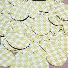 "Teardrop Sequin 1.5"" Yellow Silver Houndstooth Pattern Metallic"