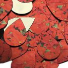 "Teardrop Sequin 1.5"" Red Poinsettia Flowers Floral Metallic"