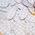 "Navette Leaf Sequin 1.5"" Pink Silver Houndstooth Pattern Metallic"