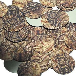 30mm Sequins Gold Brown Snakeskin Reptile Pattern Metallic