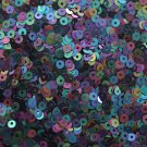 3mm Flat SEQUIN PAILLETTES ~ Opaque BLACK Iris Rainbow ~ Made in USA.