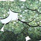 30mm Sequins Mistletoe Green White Leaves and Bud Metallic