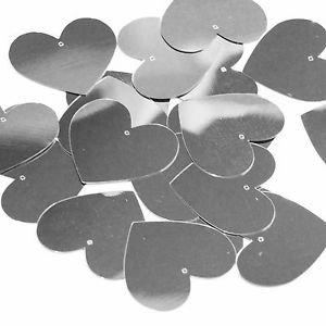 Heart Sequin 35mm Silver Metallic