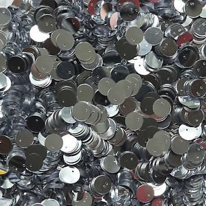 10mm Flat Round Sequin Top Hole Paillettes ~ Silver Metallic ~ Loose sequins