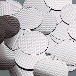 """Round Sequin 1.5"""" Pink Silver Chevron Zig Zag Pattern Metallic"""