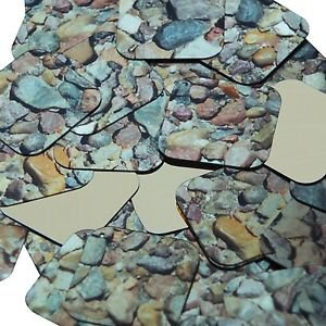 "Square Diamond Sequin 1.5"" Brown Stone Rocks Pebbles Gravel Gold Metallic"