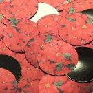 "Round Sequin 1.5"" Red Poinsettia Flowers Floral Metallic"