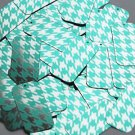 "Rectangle Sequin 1.5"" Teal Silver Houndstooth Pattern Metallic"