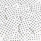 """Navette Leaf Sequin 1.5"""" Black Polka Dot on White Opaque"""