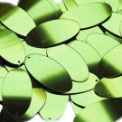 Lime Green Metallic Sequins Oval 1.5 inch See-Thru Large Couture Paillettes