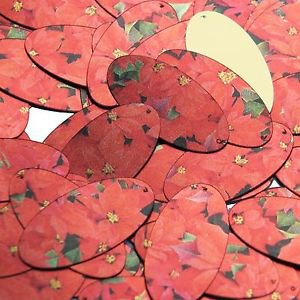 """Oval Sequin 1.5"""" Red Poinsettia Flowers Floral Metallic"""