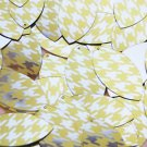 """Navette Leaf Sequin 1.5"""" Yellow Silver Houndstooth Pattern Metallic"""
