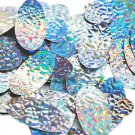 Silver Lazersheen Mosaic Sequin Oval 1.5 inch Large Couture Paillettes