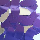 Purple Silver Metallic Sequins Oval 1.5 inch Large Couture Paillettes