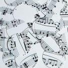 30mm Sequins Mozart Score Black White Opaque