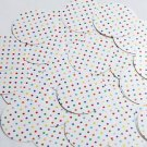 """Round Sequin 1.5"""" Multicolor Polka Dot on White Opaque"""
